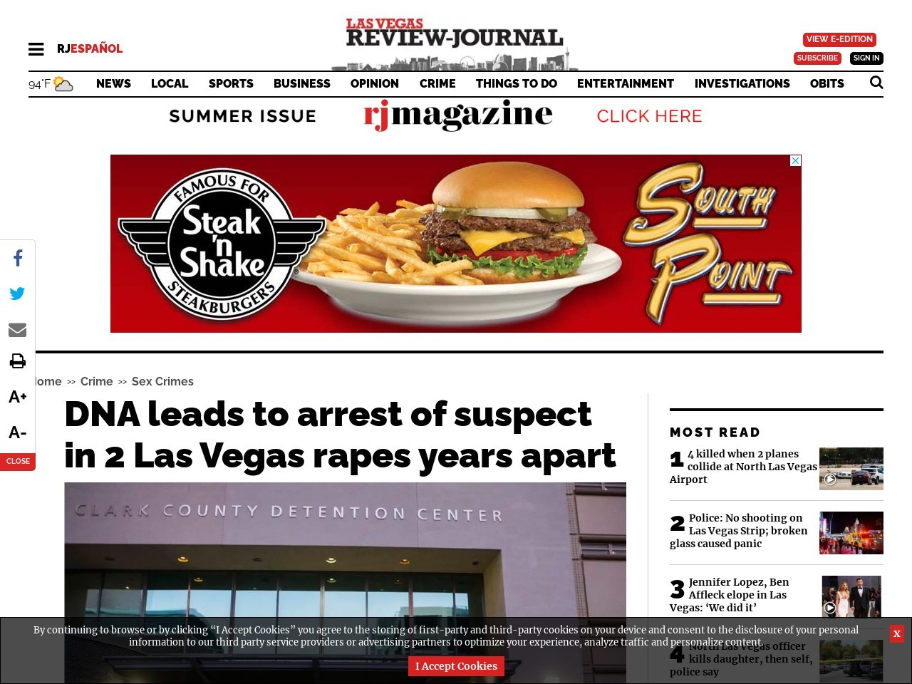 DNA leads to arrest of suspect in 2 Las Vegas rapes years apart