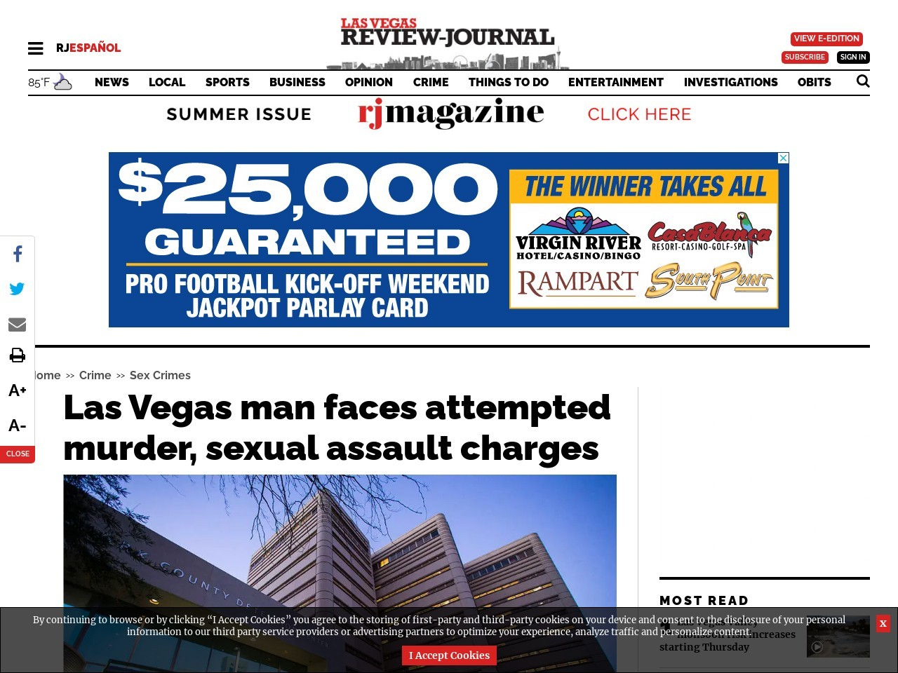 Las Vegas man faces attempted murder, sexual assault charges