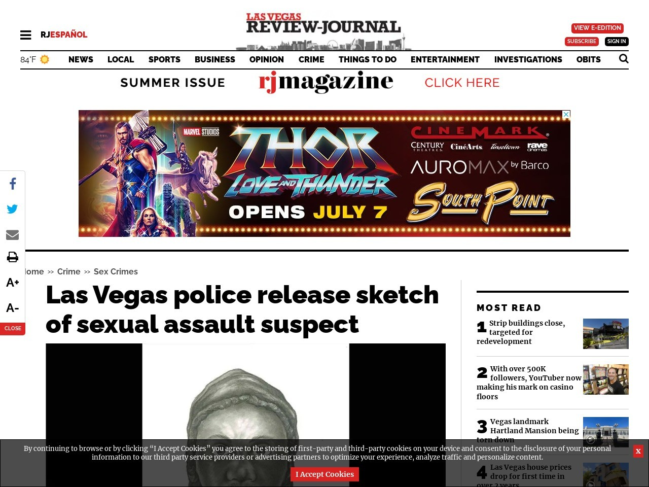 Las Vegas police release sketch of sexual assault suspect