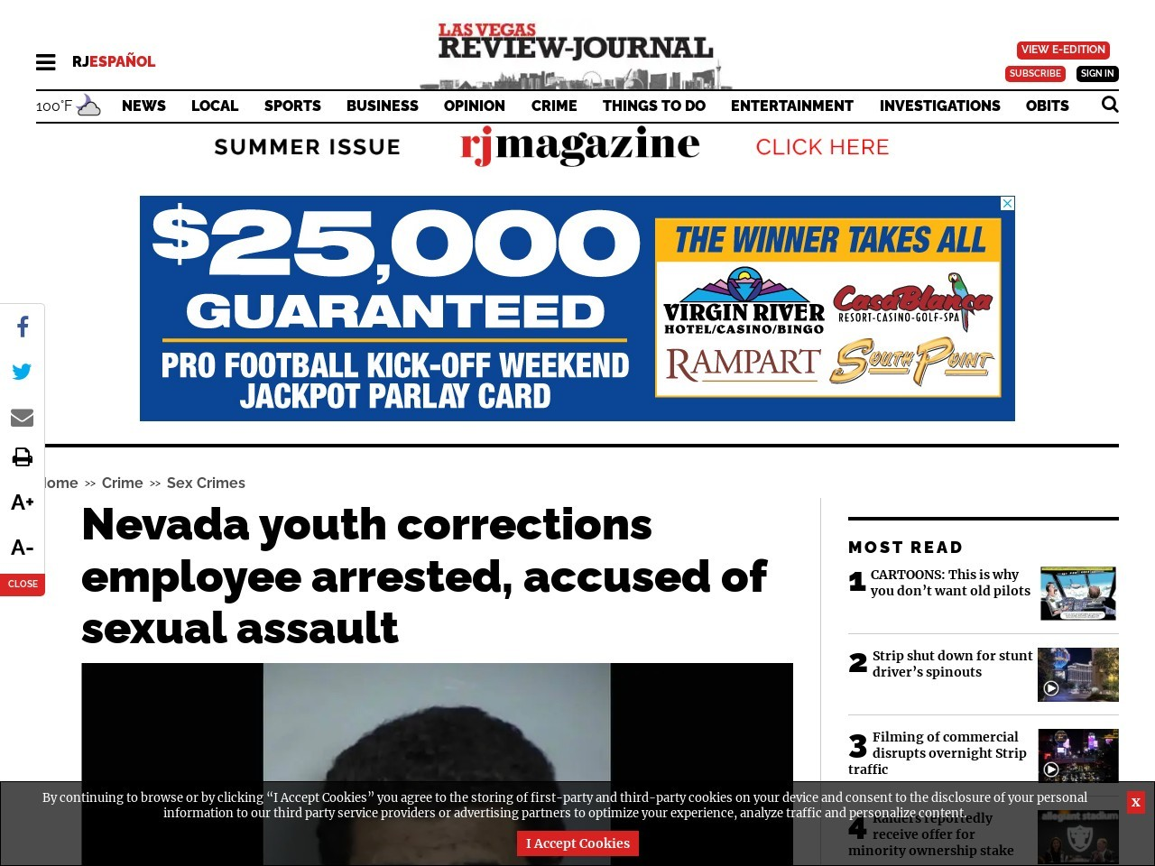 Nevada youth corrections employee arrested, accused of sexual assault