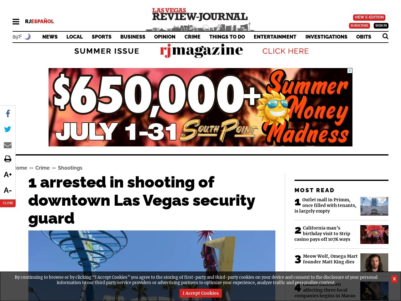 1 arrested in shooting of downtown Las Vegas security guard