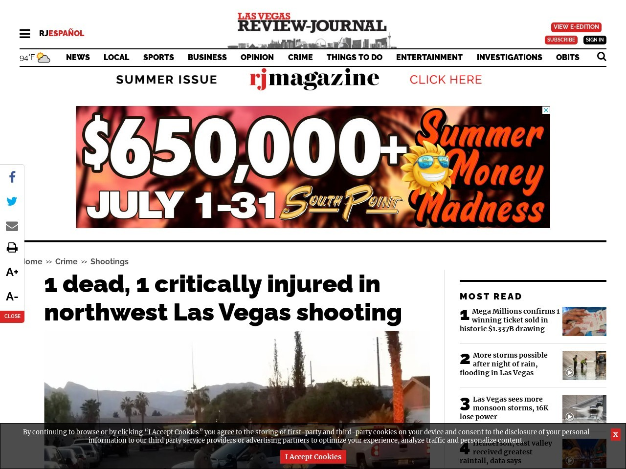 1 dead, 1 critically injured in northwest Las Vegas shooting