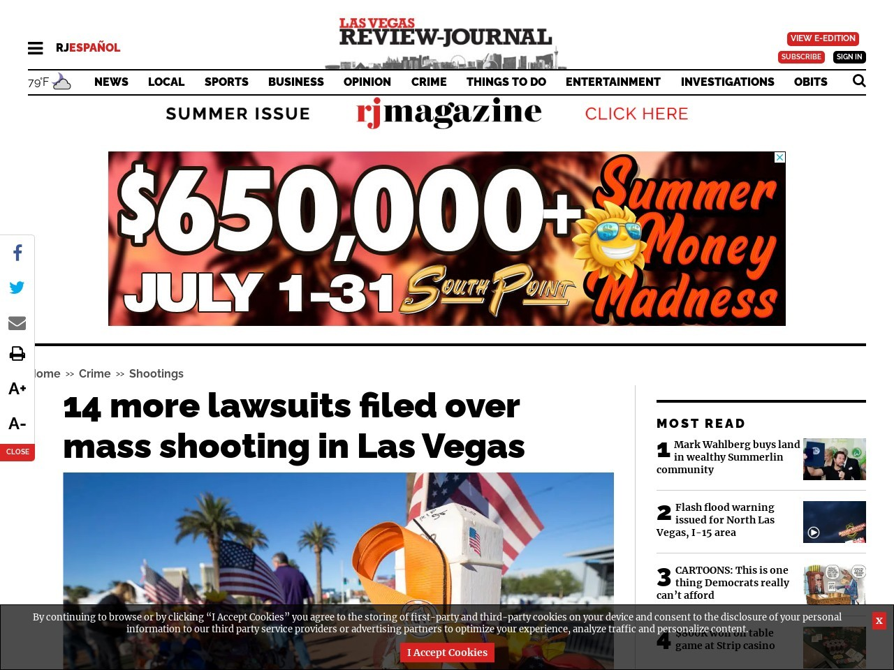 14 more lawsuits filed over mass shooting in Las Vegas