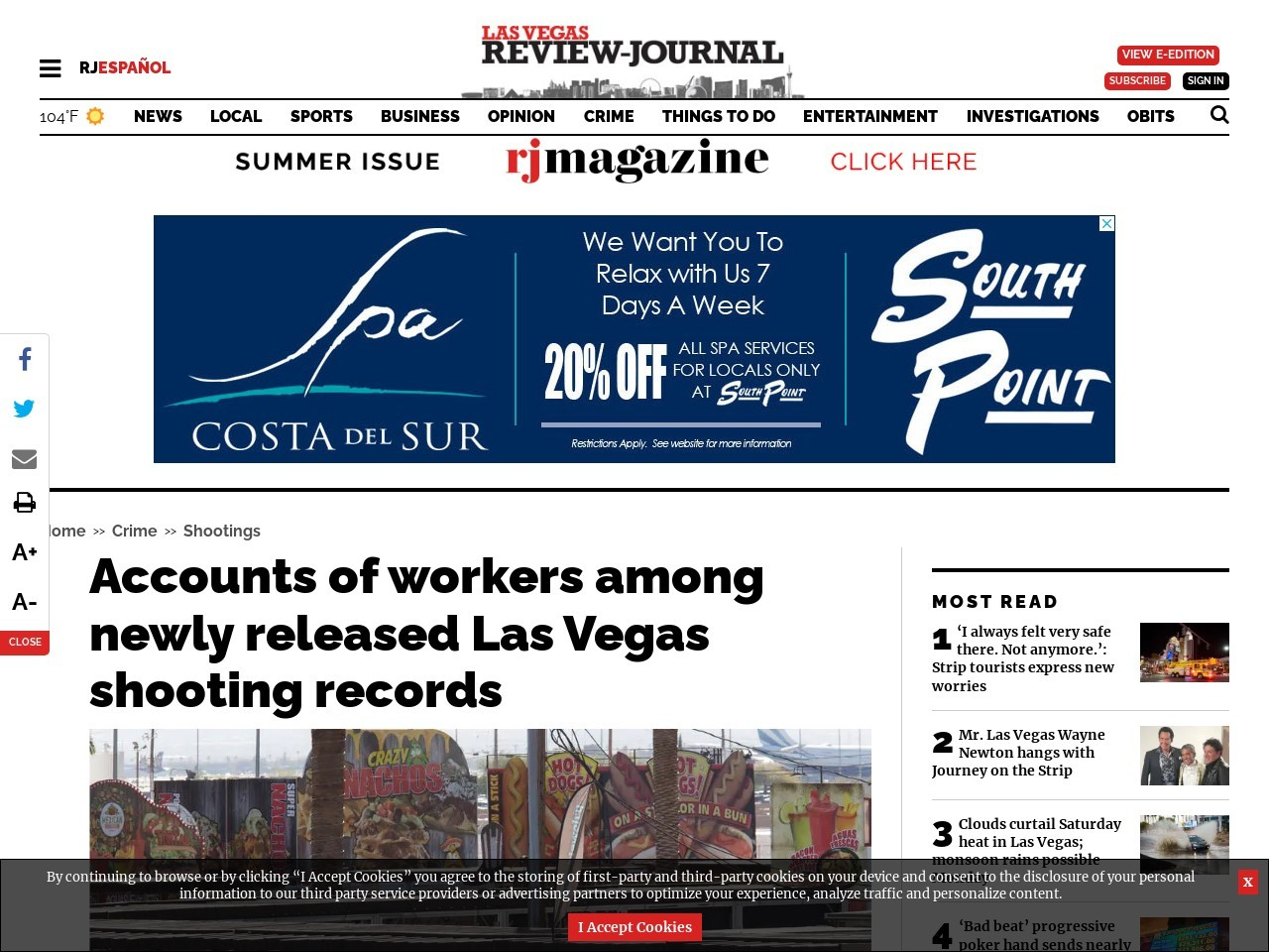 Accounts of workers among newly released Las Vegas shooting records