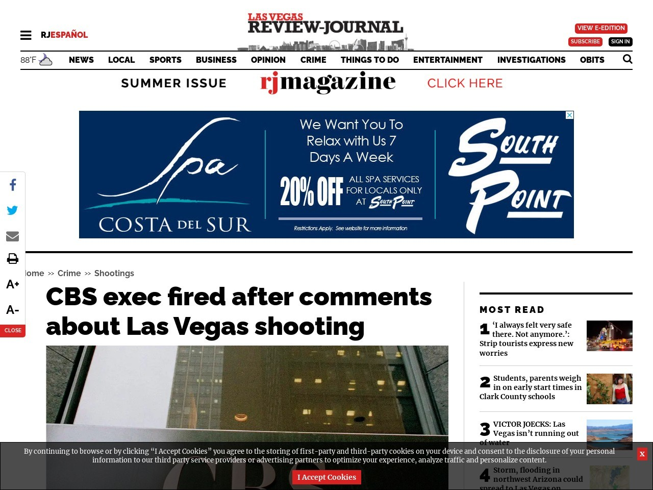 CBS exec fired after comments about Las Vegas shooting