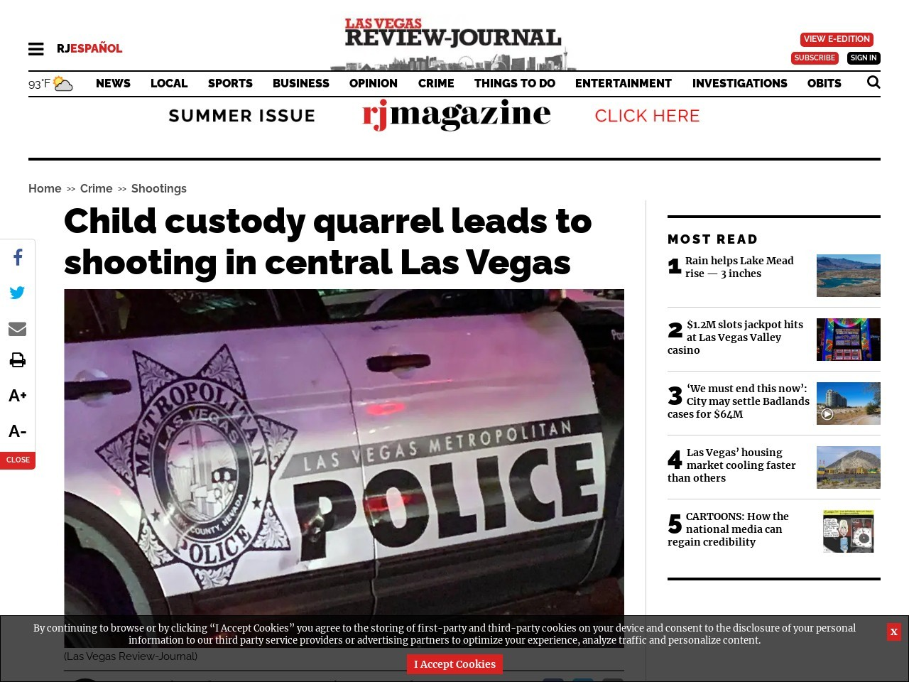 Child custody quarrel leads to shooting in central Las Vegas