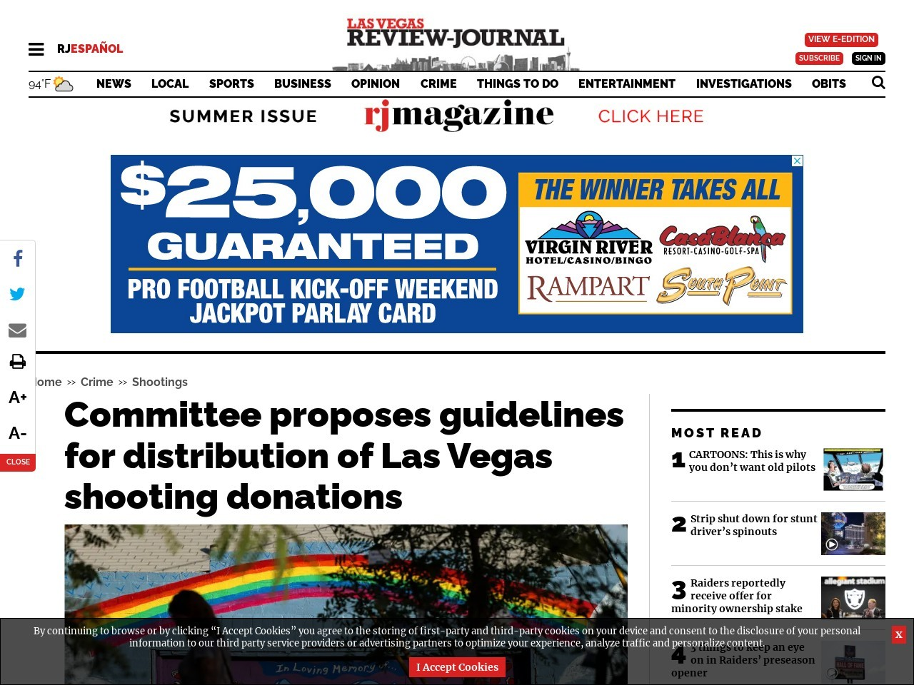 Committee proposes guidelines for distribution of Las Vegas shooting donations