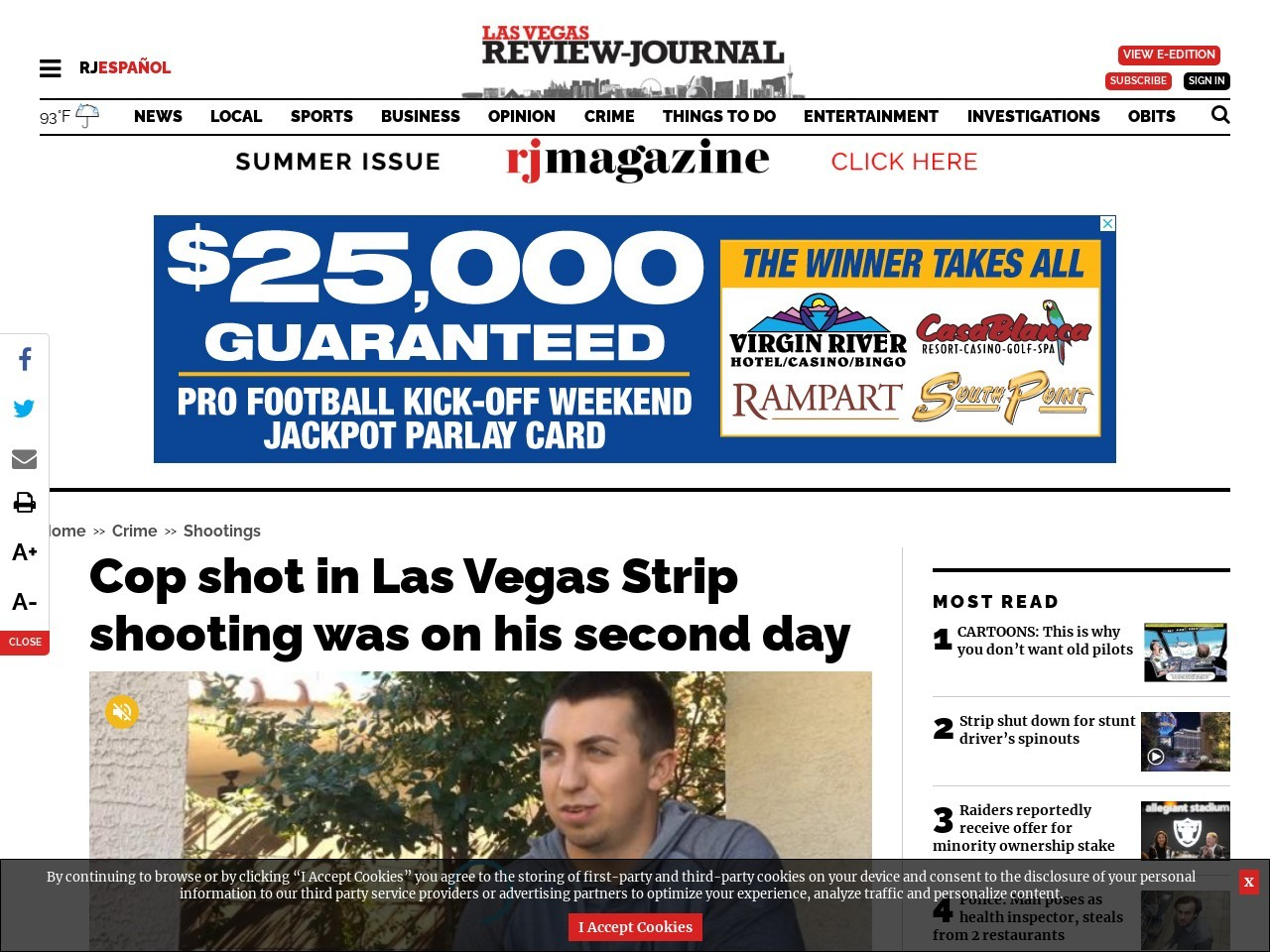 Cop shot in mass shooting at Las Vegas Strip was on his second day