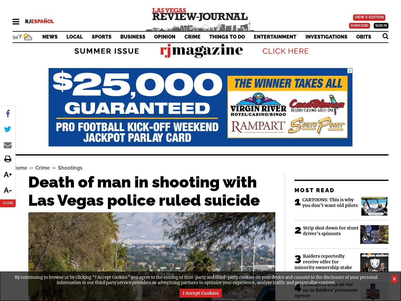 Death of man in shooting with Las Vegas police ruled suicide