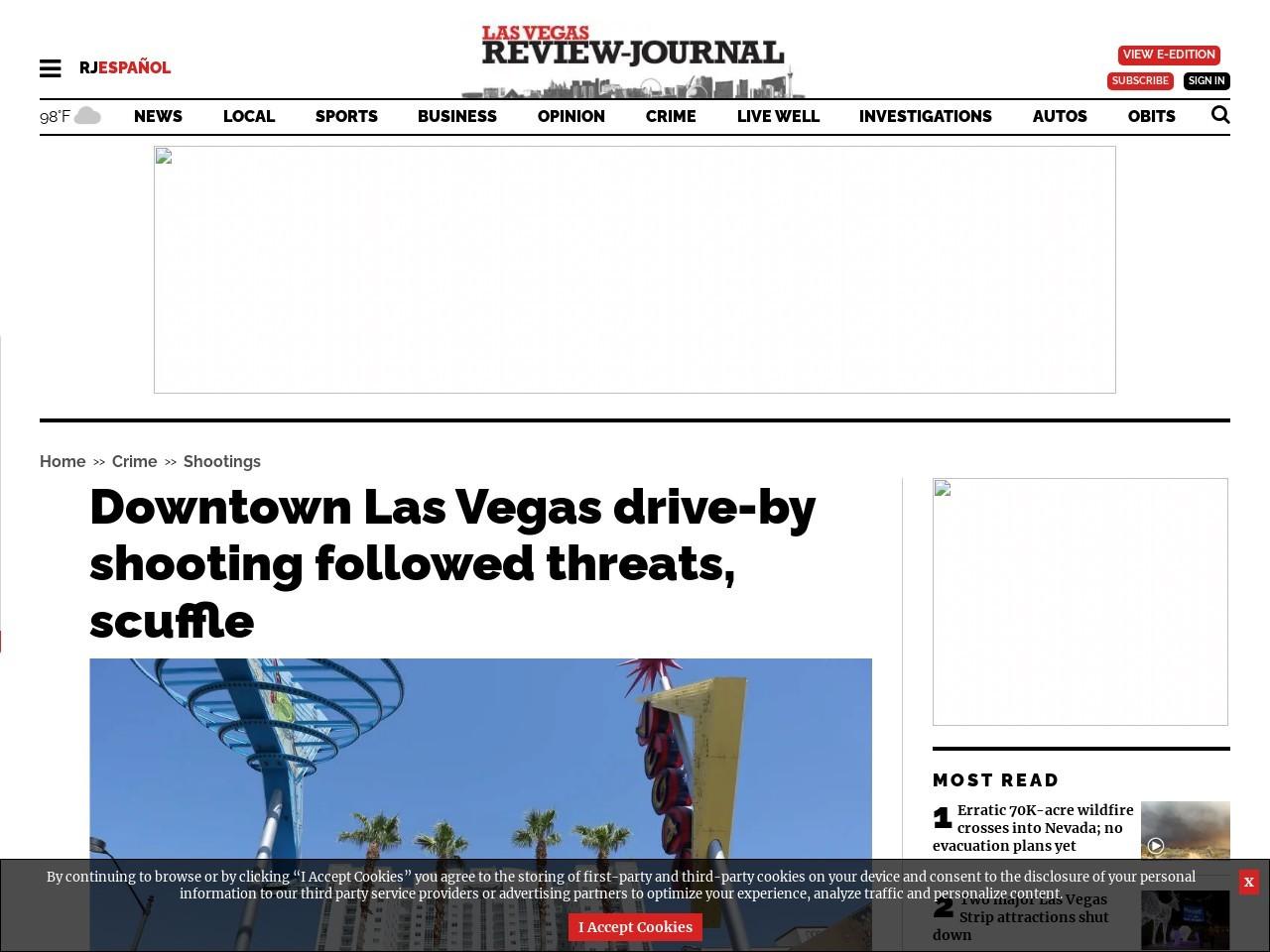 Downtown Las Vegas drive-by shooting followed threats, scuffle