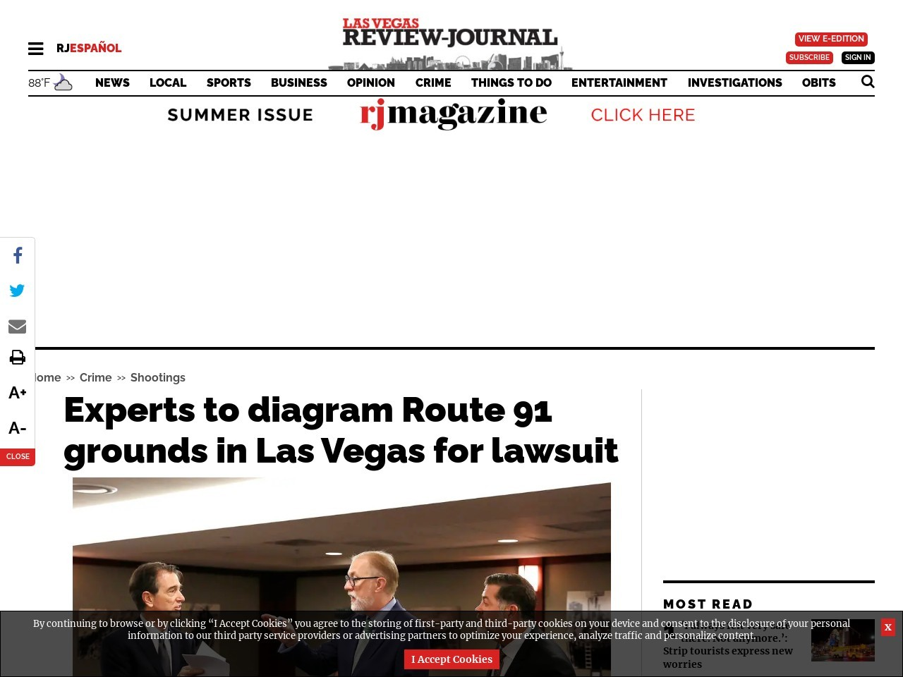Experts to diagram Route 91 grounds in Las Vegas for lawsuit