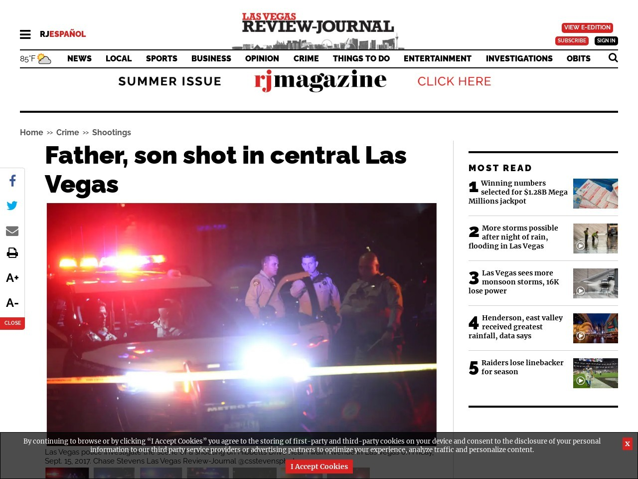 Father, son shot in central Las Vegas