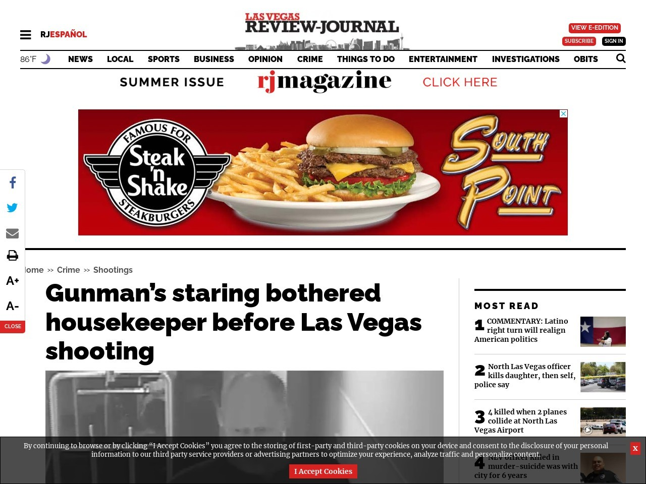 Gunman's staring bothered housekeeper before Las Vegas shooting
