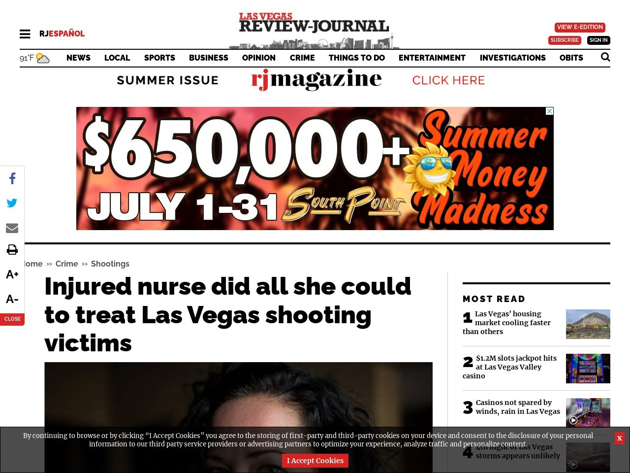 Injured nurse did all she could to treat Las Vegas shooting victims