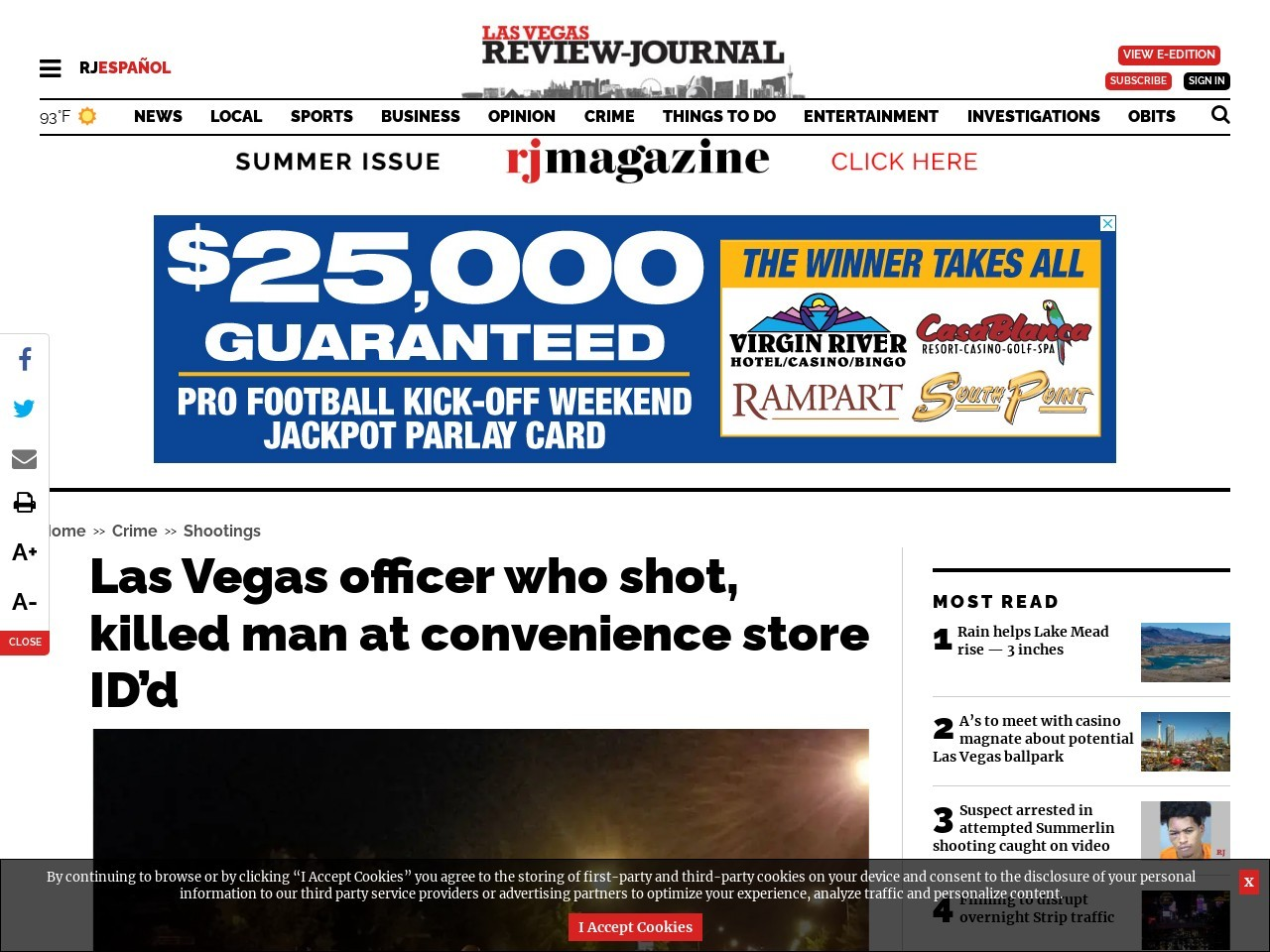 Las Vegas officer who shot, killed man at convenience store ID'd