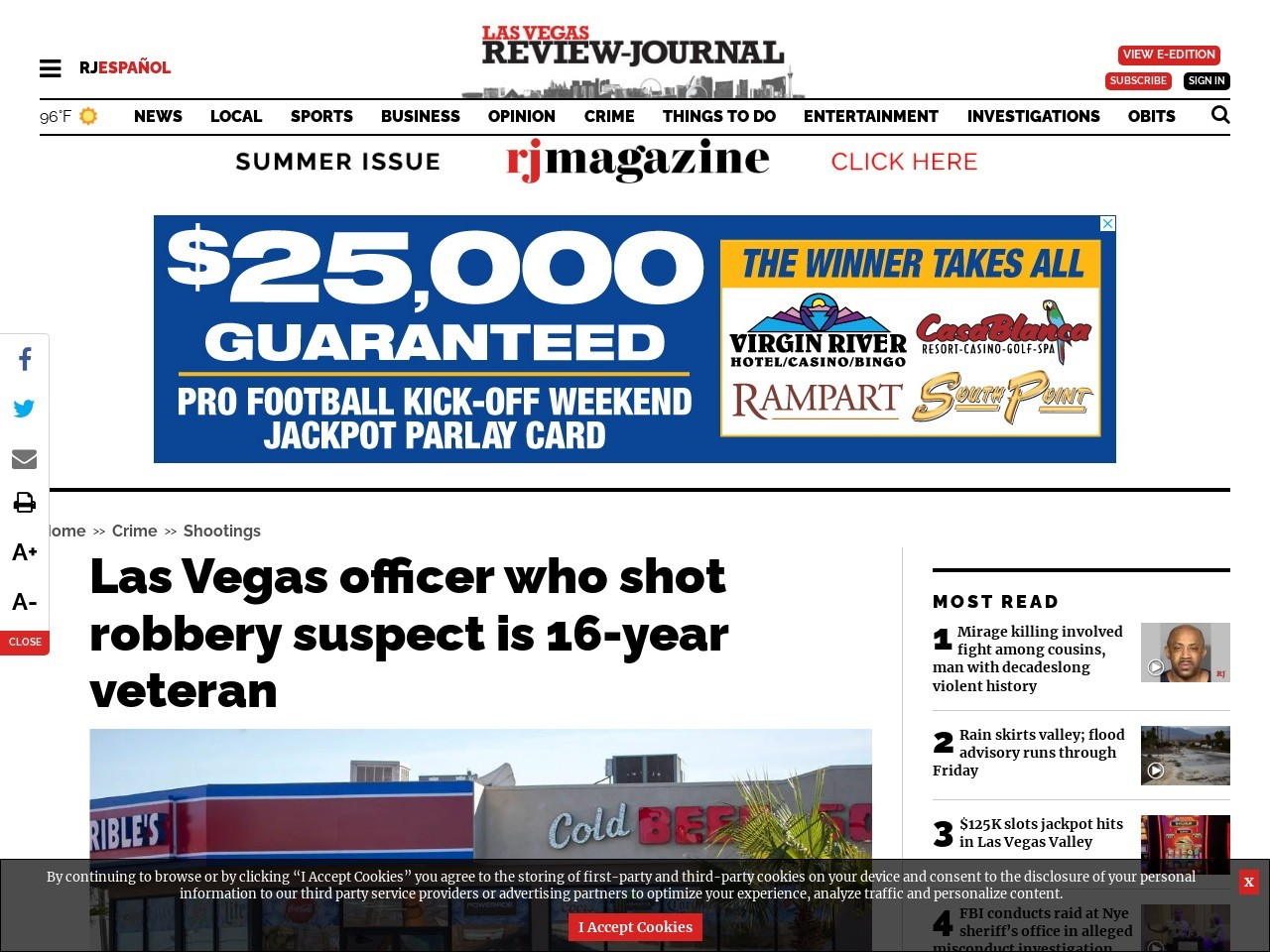 Las Vegas officer who shot robbery suspect is 16-year veteran