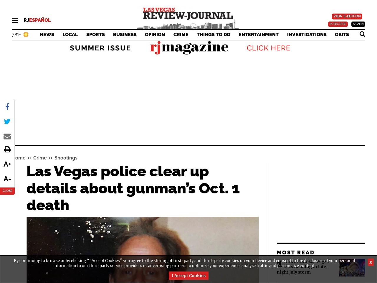 Las Vegas police clear up details about gunman's Oct. 1 death