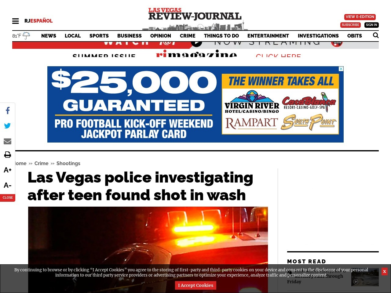 Las Vegas police investigating after teen found shot in wash