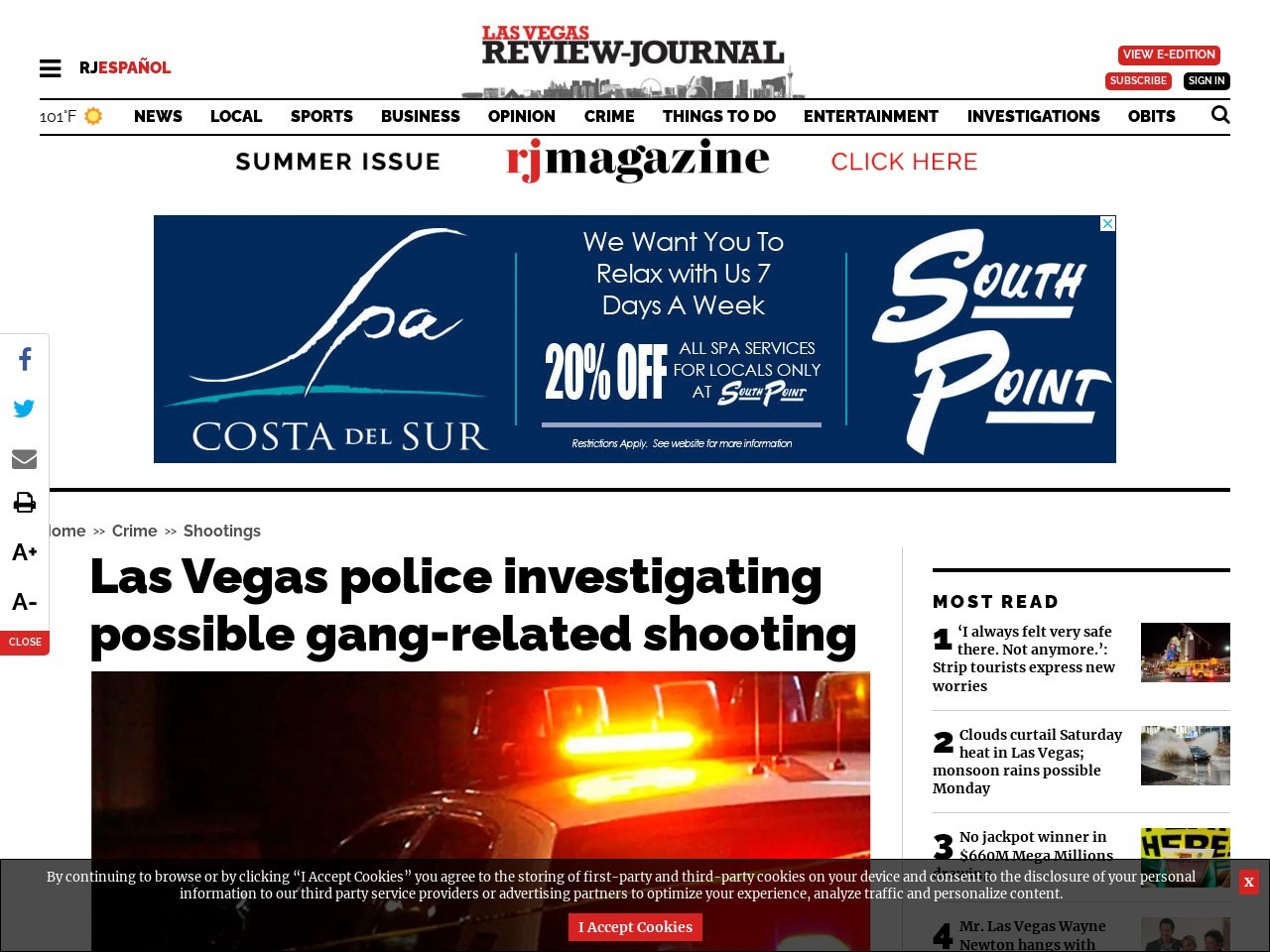 Las Vegas police investigating possible gang-related shooting