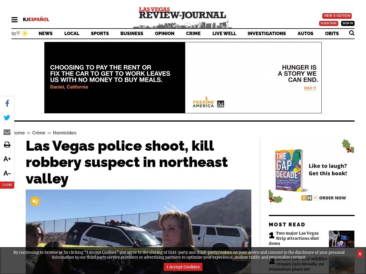 Las Vegas police shoot, kill robbery suspect in northeast valley