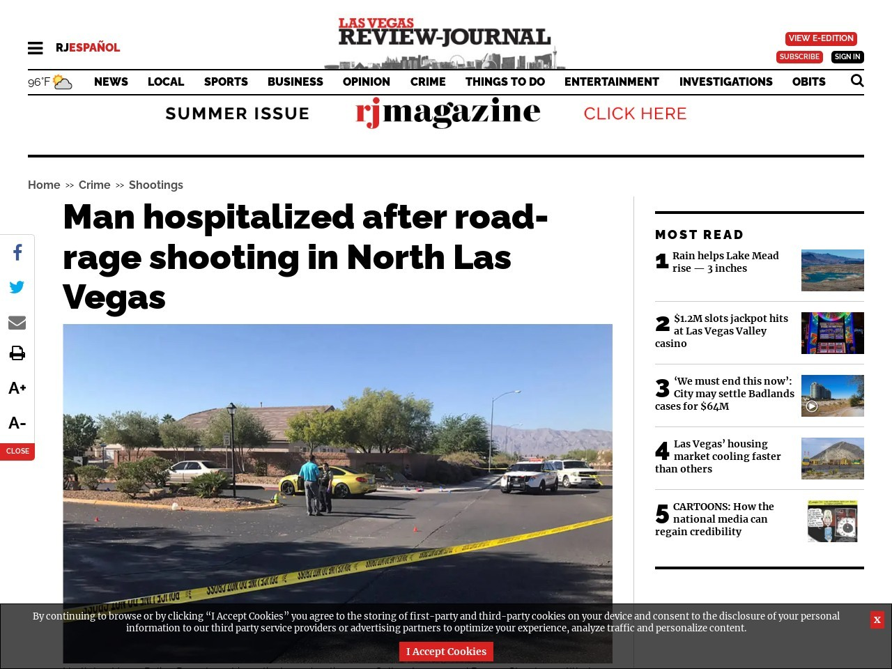 Man hospitalized after shooting in North Las Vegas