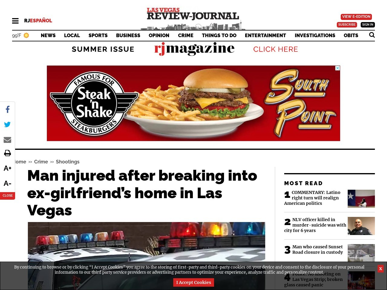 Man injured after breaking into ex-girlfriend's home in Las Vegas