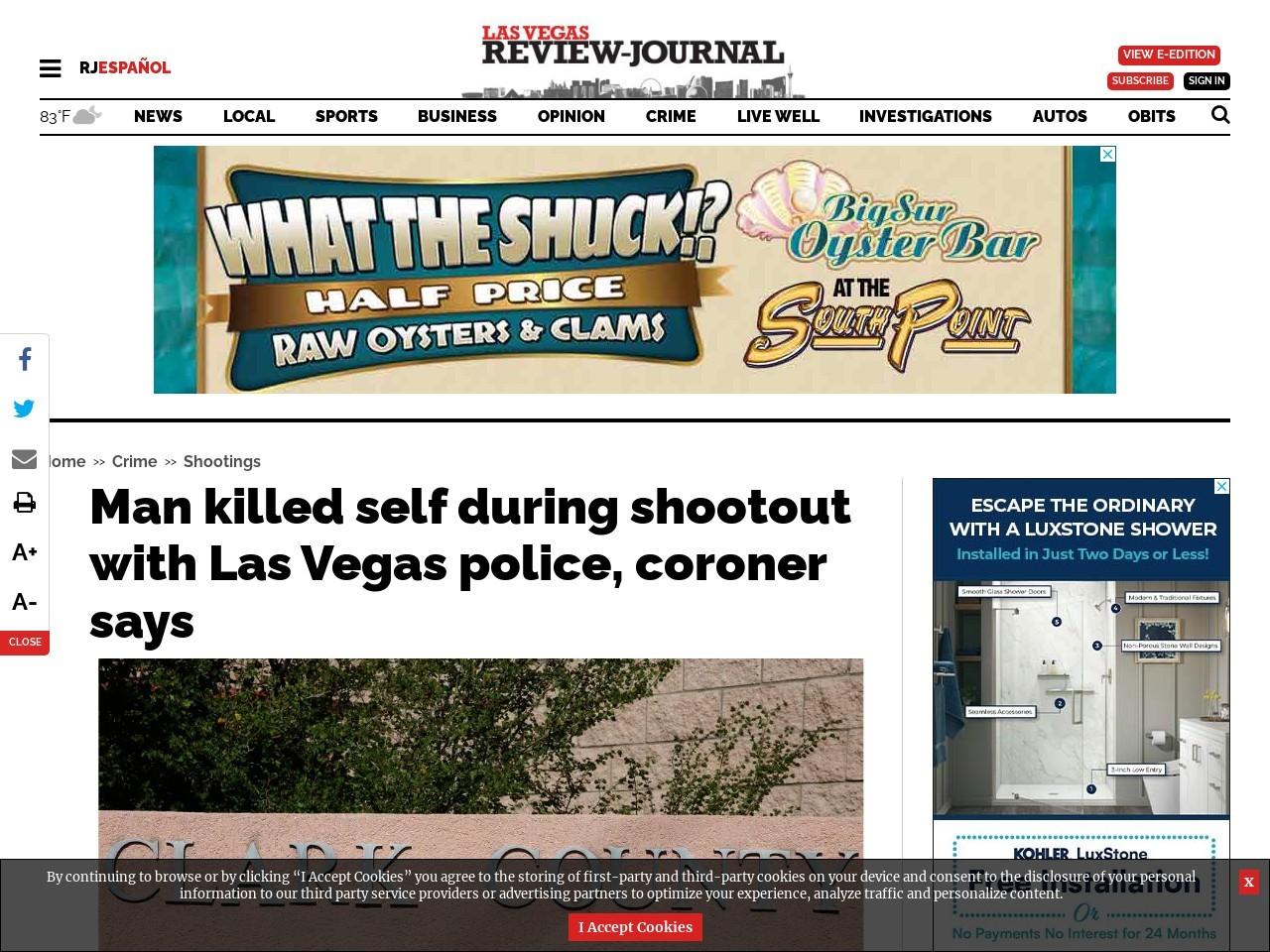 Man killed self during shootout with Las Vegas police, coroner says