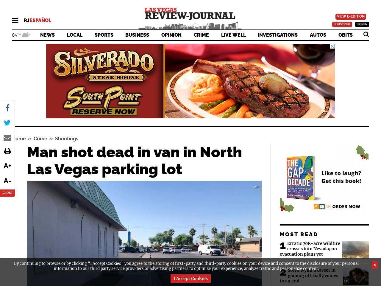 Man shot dead in van in North Las Vegas parking lot
