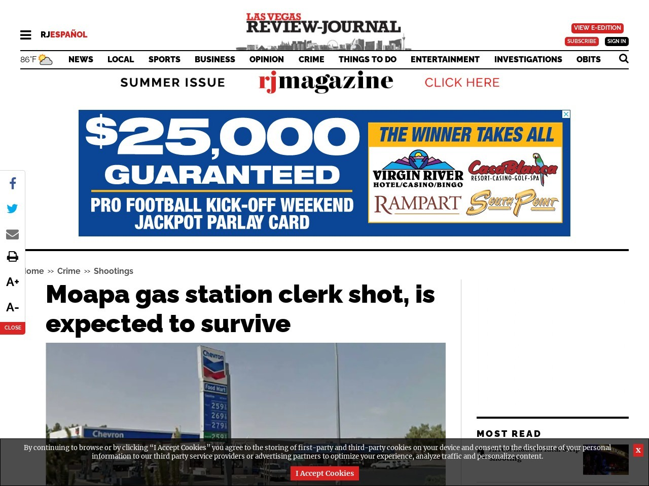 Moapa gas station clerk shot, is expected to survive
