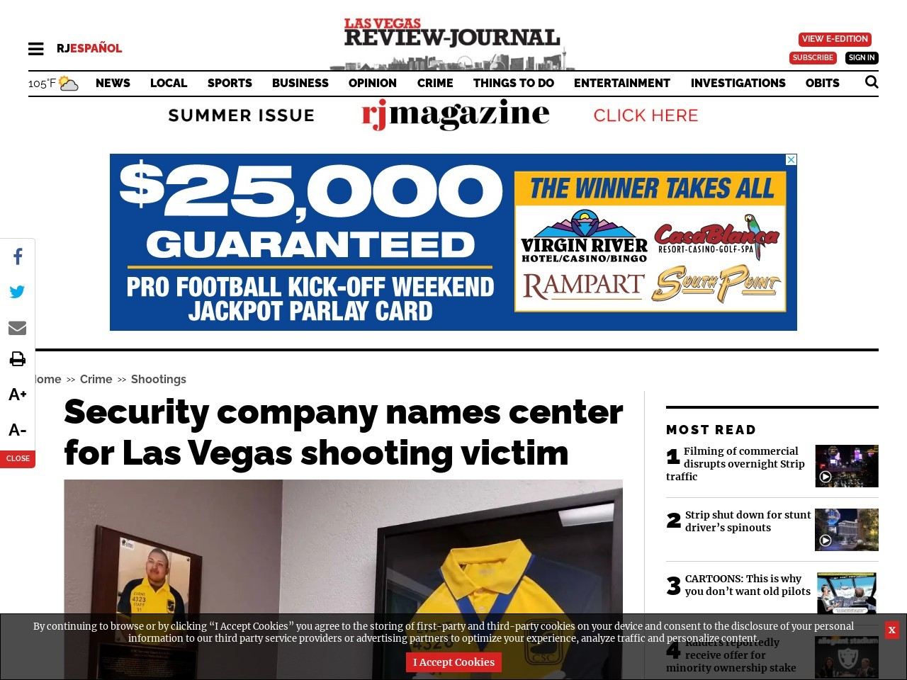Security company names center for Las Vegas shooting victim