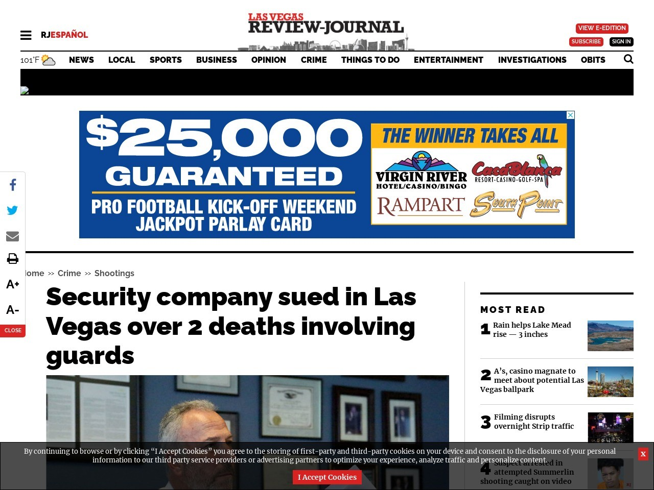 Security company sued in Las Vegas over 2 deaths involving guards