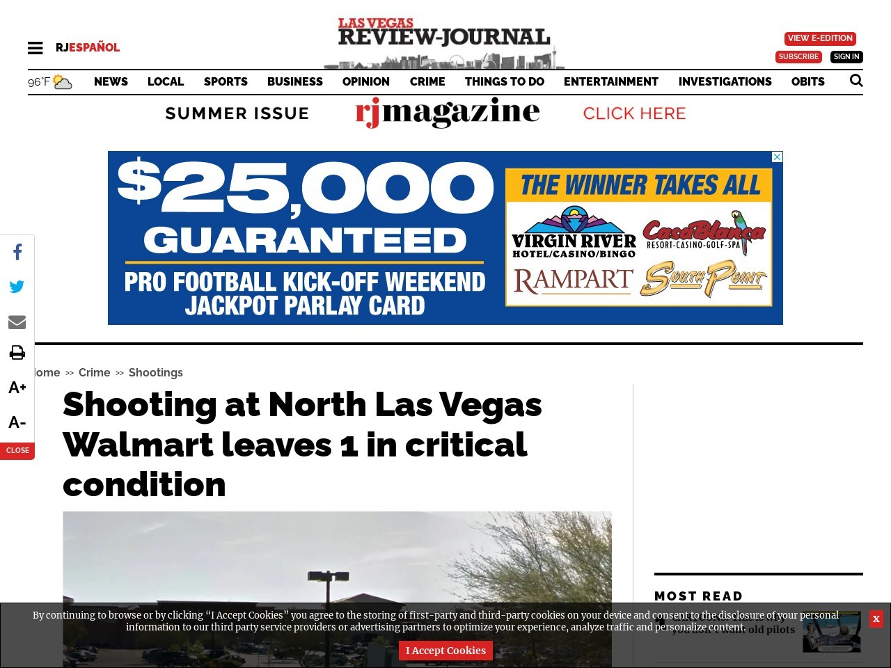 Shooting at North Las Vegas Walmart leaves 1 in critical condition