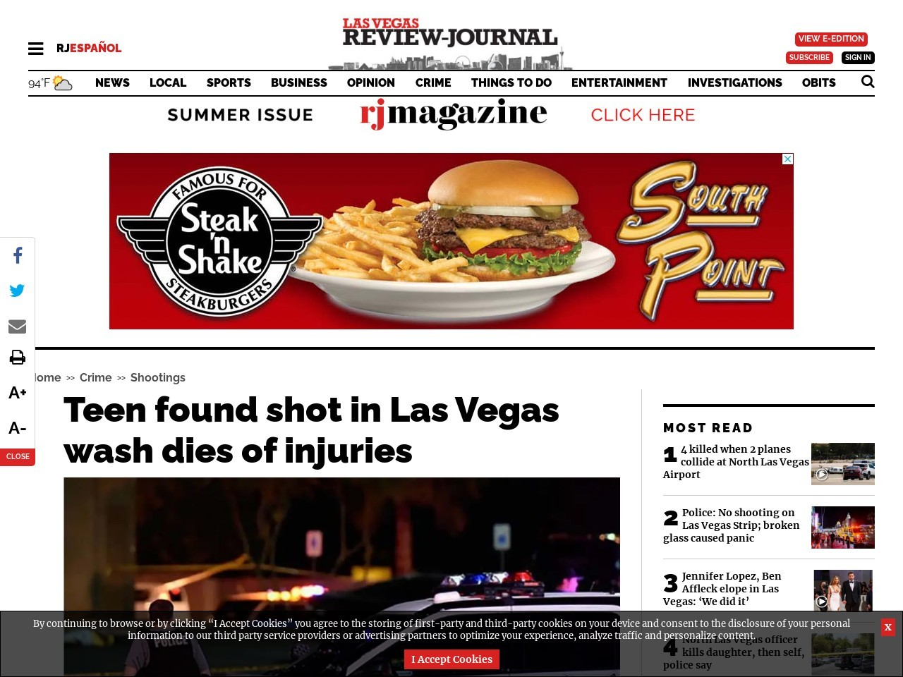 Teen found shot in Las Vegas wash dies of injuries
