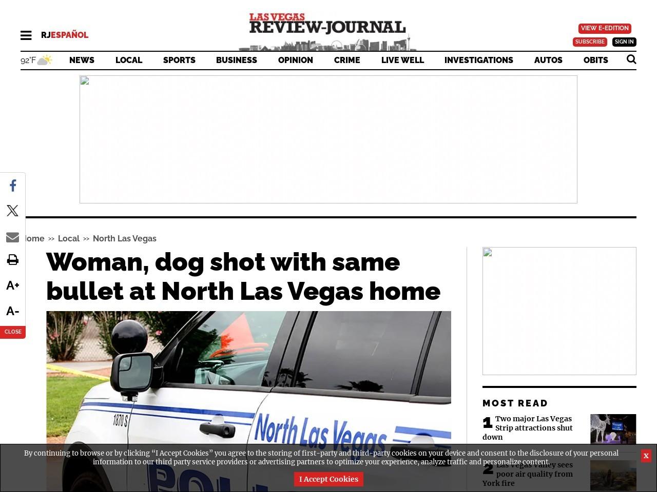 Woman, dog shot with same bullet at North Las Vegas home