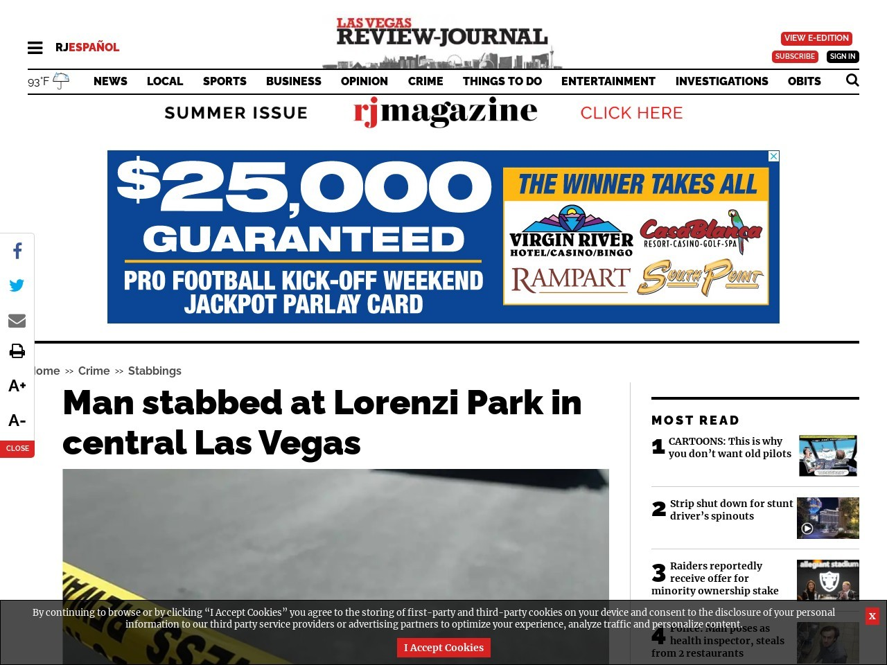 Man stabbed at Lorenzi Park in central Las Vegas
