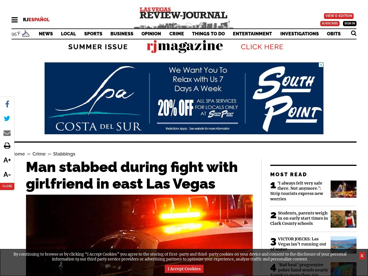 Man stabbed during fight with girlfriend in east Las Vegas