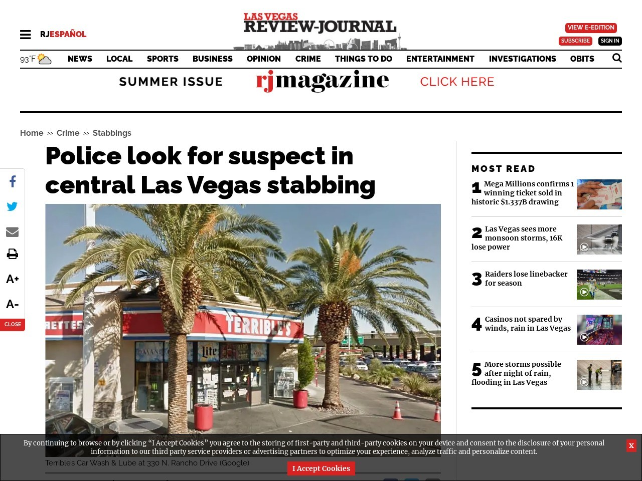 Police look for suspect in central Las Vegas stabbing