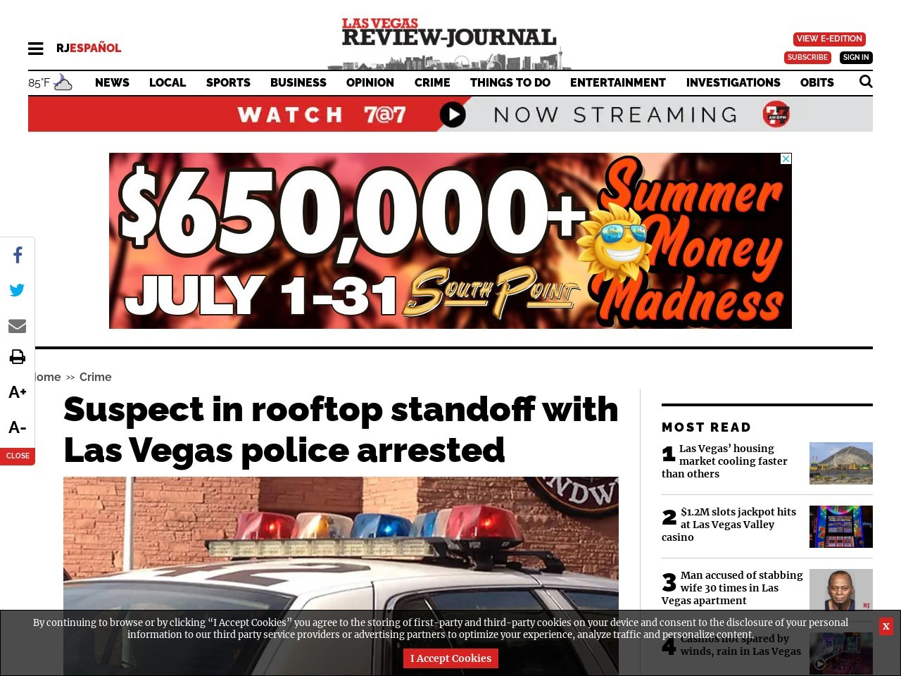 Suspect in rooftop standoff with Las Vegas police arrested
