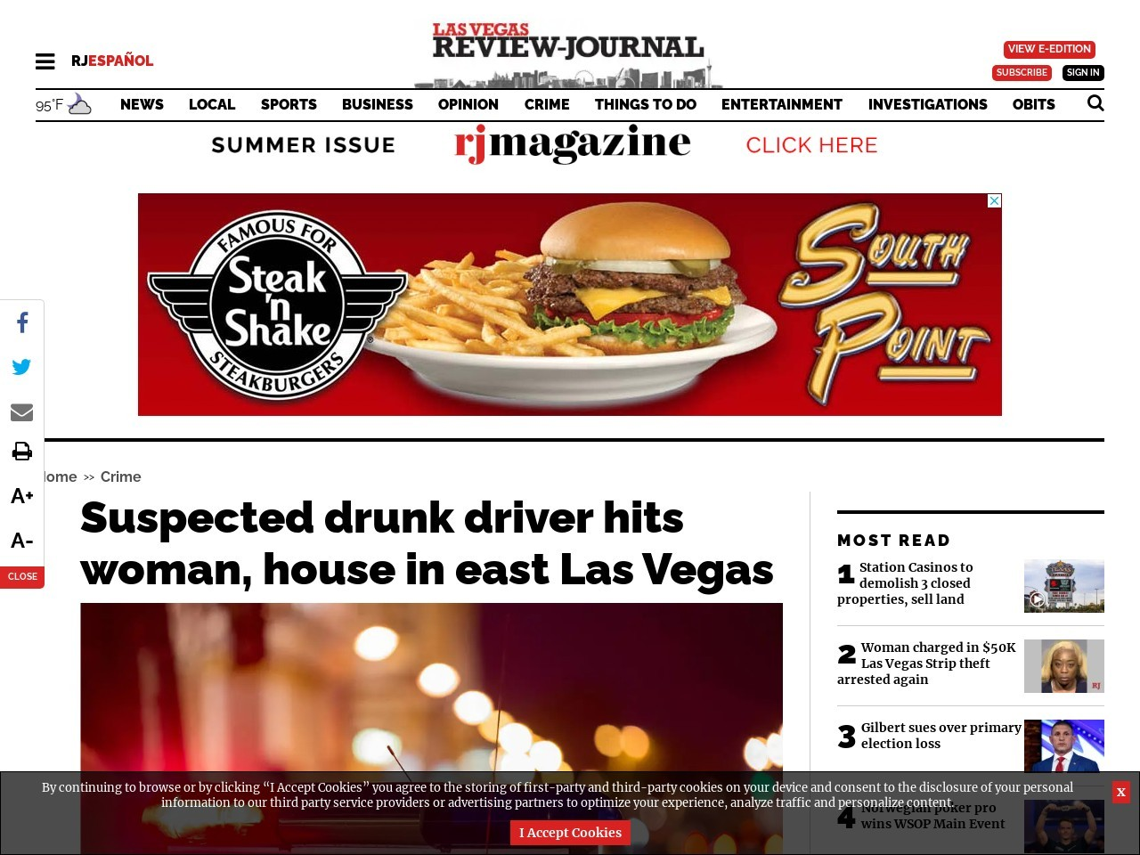 Suspected drunk driver hits woman, house in east Las Vegas