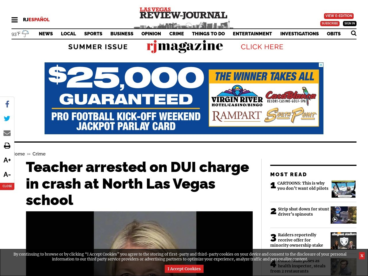 Teacher arrested on DUI charge in crash at North Las Vegas school