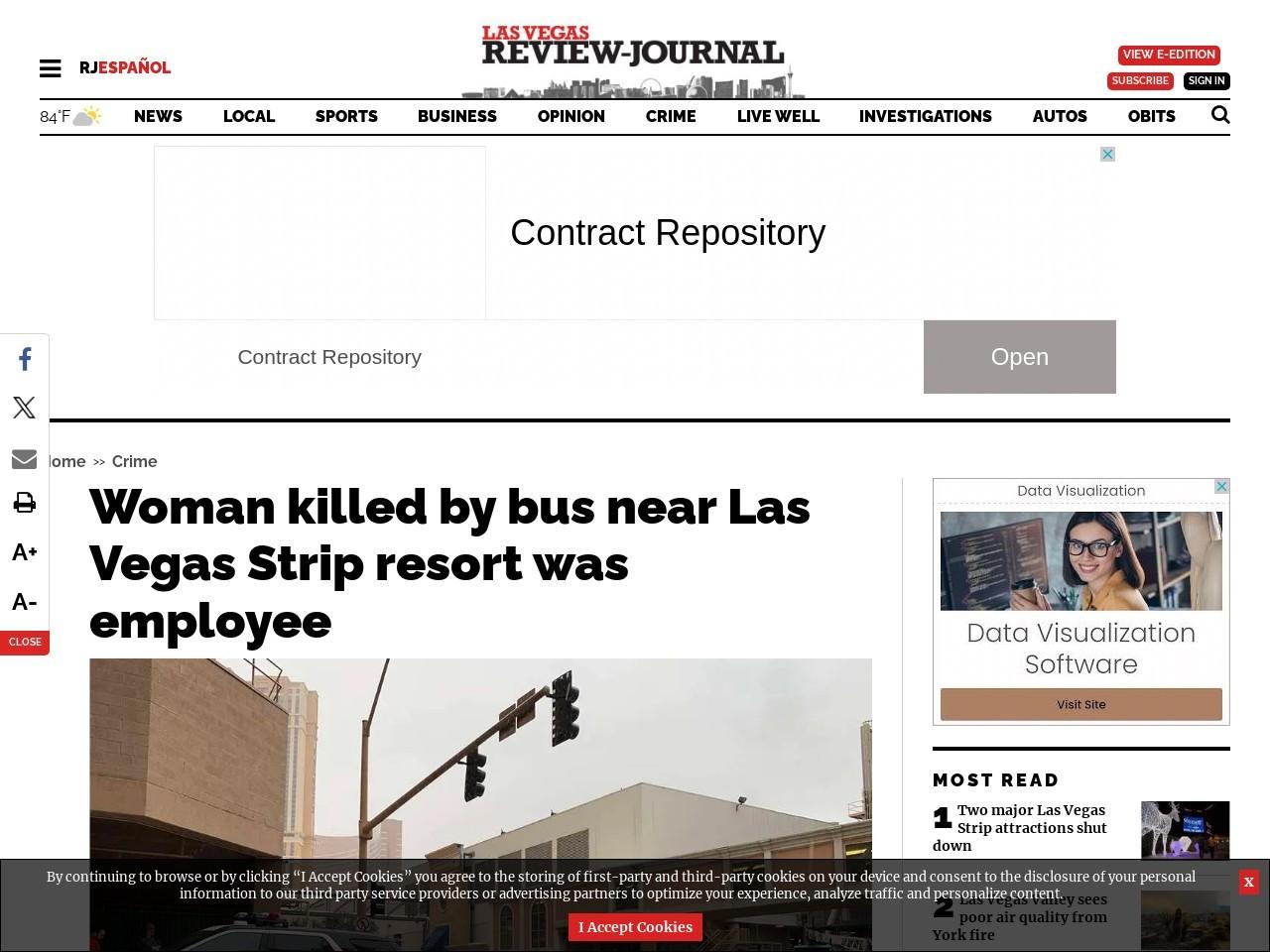 Woman killed by bus near Las Vegas Strip resort was employee