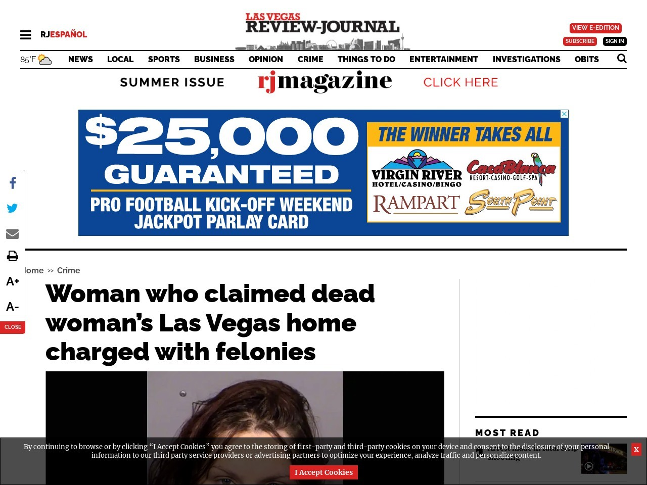 Woman who claimed dead woman's Las Vegas home charged with felonies