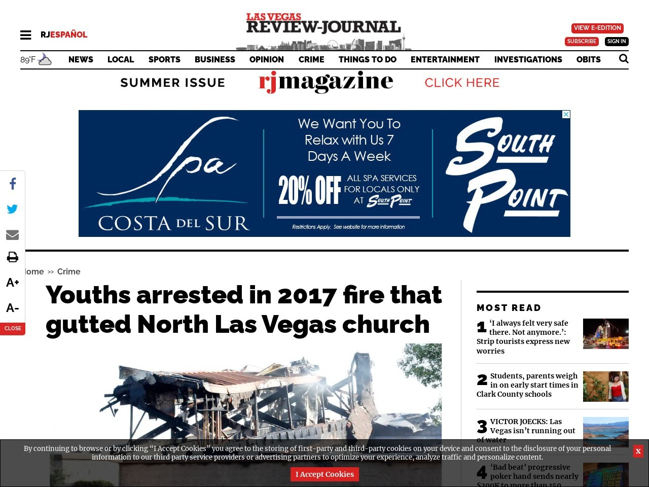 Youths arrested in 2017 arson fire that gutted North Las Vegas church