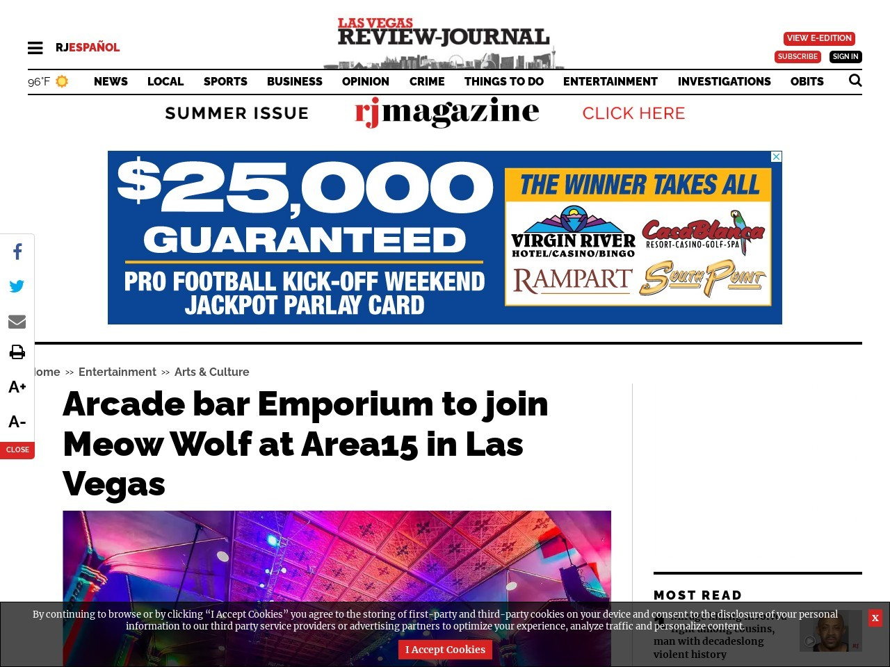 Arcade bar Emporium to join Meow Wolf at Area15 in Las Vegas