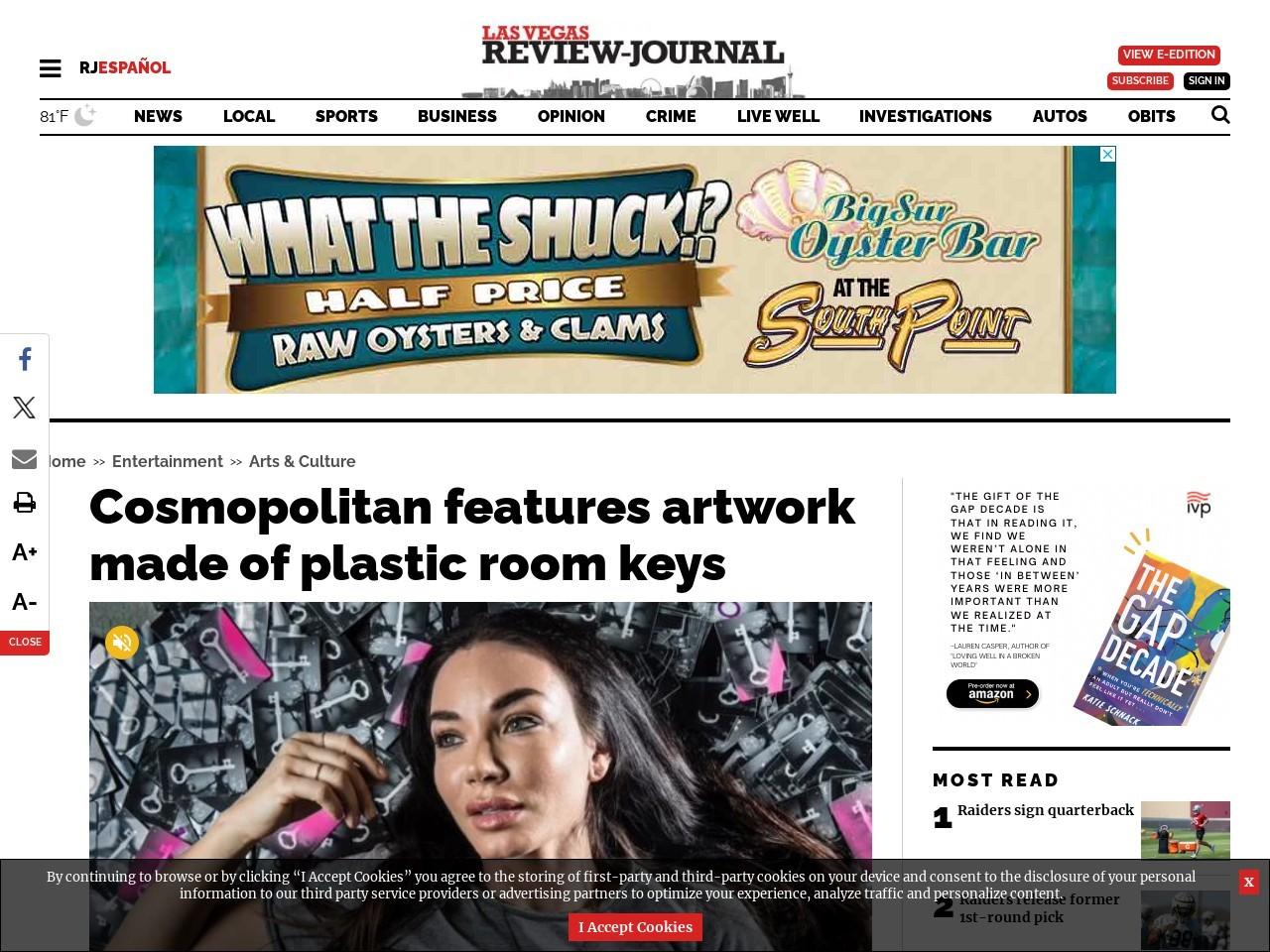 Cosmopolitan features art by Las Vegas woman made of plastic room keys