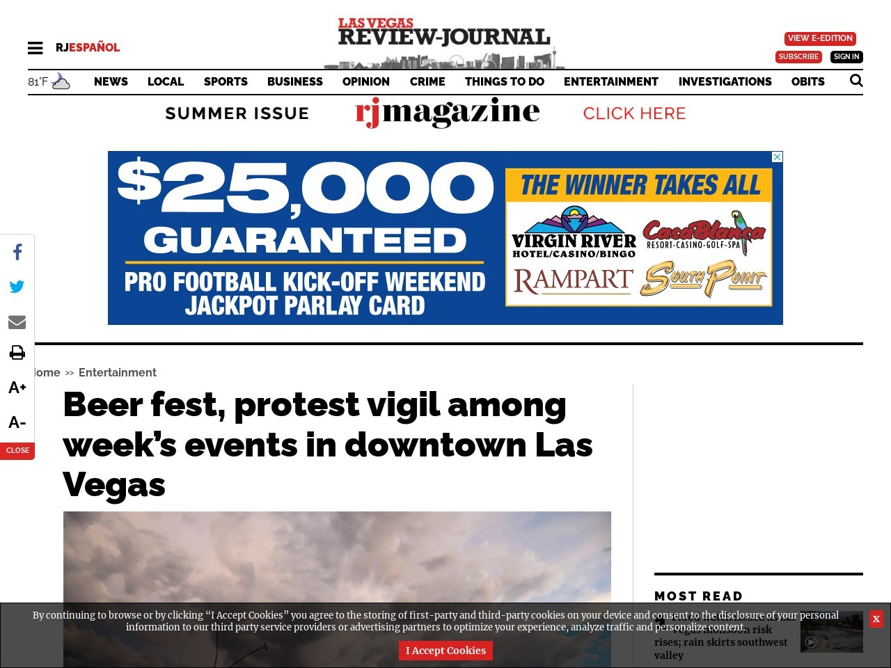 Beer fest, protest vigil among week's events in downtown Las Vegas