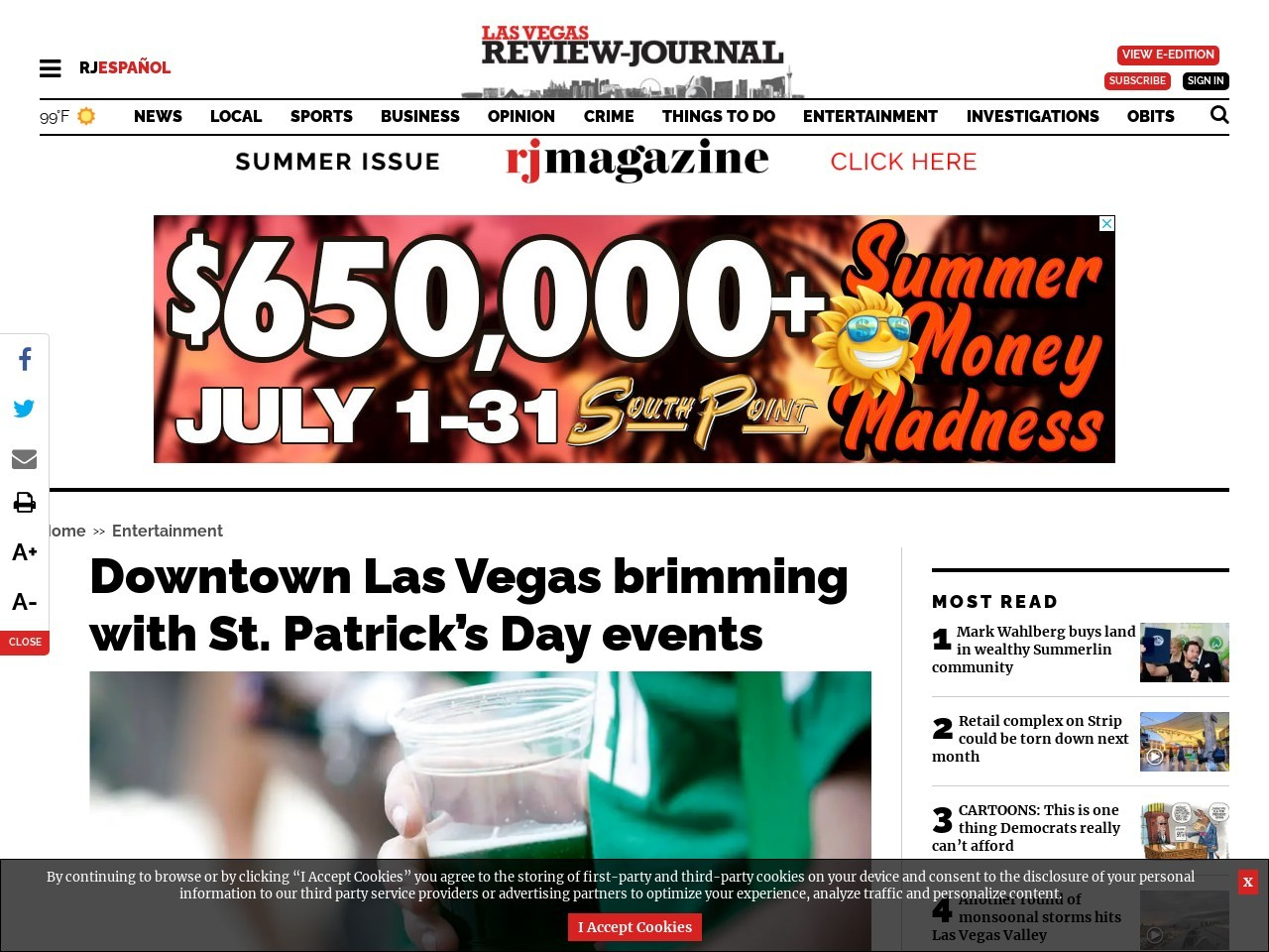 Downtown Las Vegas brimming with St. Patrick's Day events
