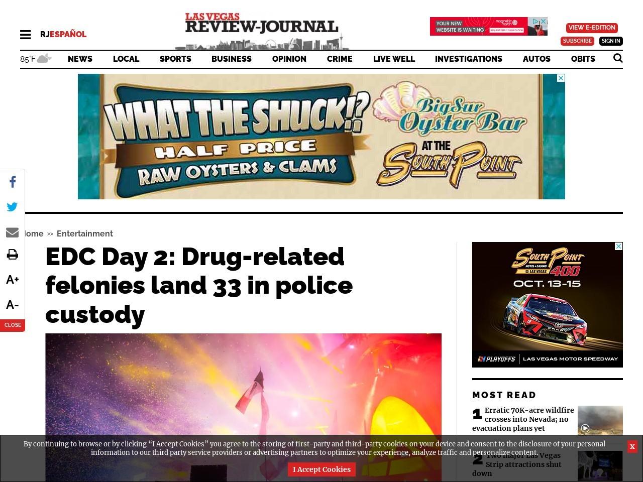 EDC Day 2: Drug-related felonies land 33 in police custody