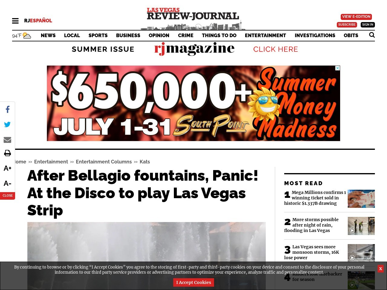 After Bellagio fountains, Panic! At the Disco to play Las Vegas Strip