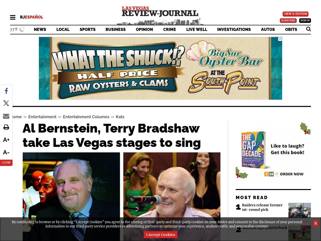 Al Bernstein, Terry Bradshaw take Las Vegas stages to sing